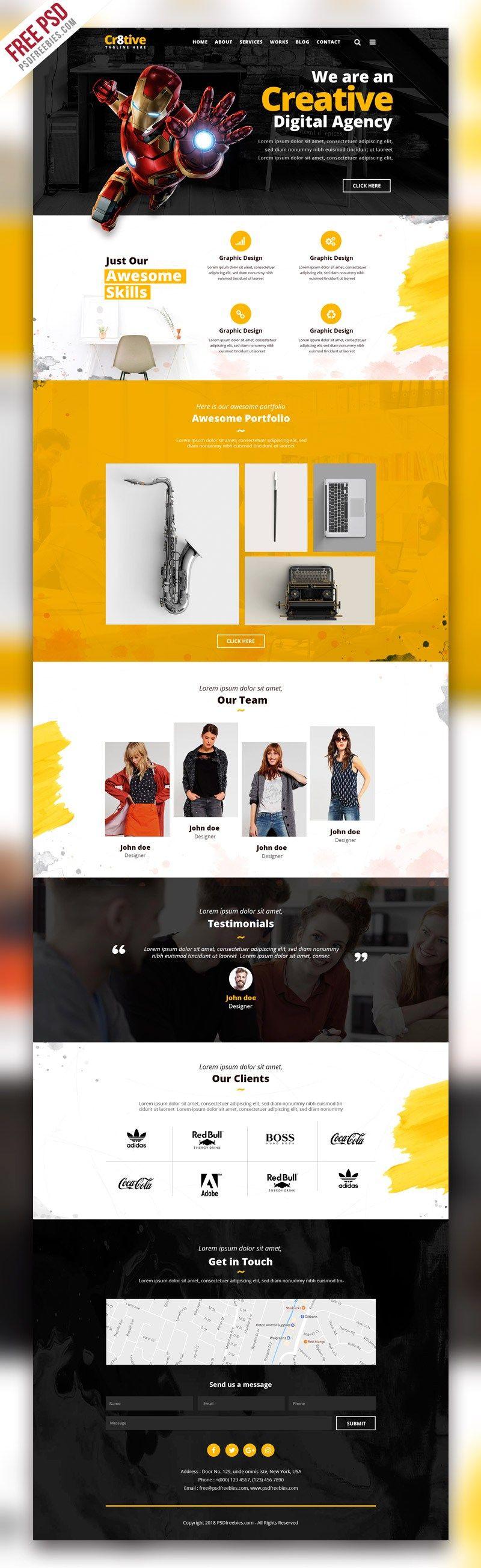 Creative Agency Portfolio Website Psd Template By Psdfreebies Com Website Design Portfolio Website Web Design Tips