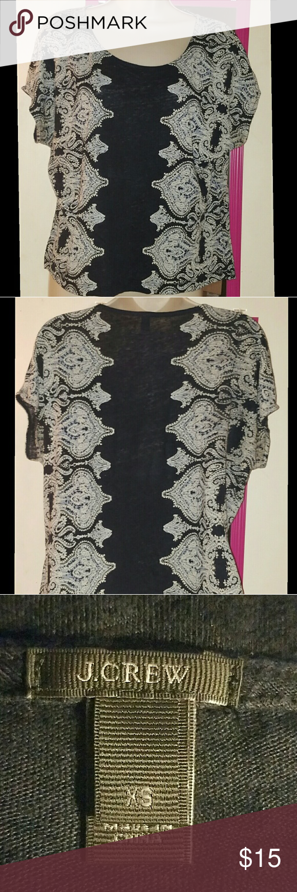 J. Crew Navy Paisley Top Navy paisley blouse from J. Crew. Stretchy tee like. Light blue and gray paisley designs on the side. Middle is navy. Size extra small. Oversized--could probably fit a small or medium as well. Bust 24 inches flat. Length 23 inches. J. Crew Tops Blouses