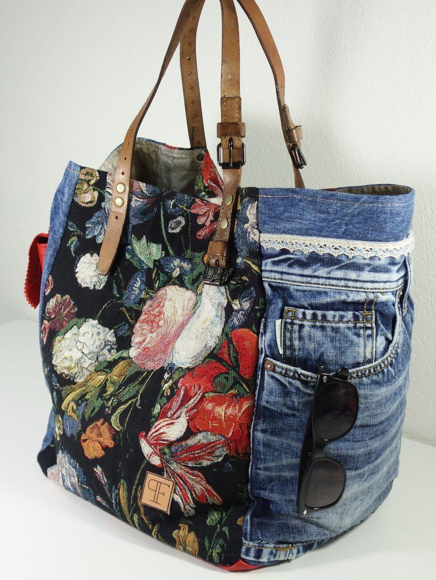 Jeans-Sack mit Blumen | Taschen nähen, Jeans tasche und Nähen