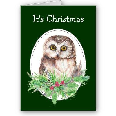 Cute Christmas Owl Humor, Watercolor Bird by countrymousestudio