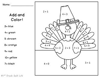 Thanksgiving Add and Color Thanksgiving, Thanksgiving