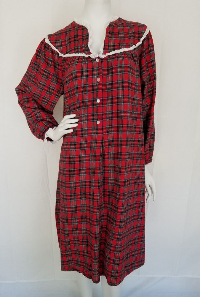 faaf0c2d09 LANZ OF SALZBURG Red Tartan Plaid Cotton Flannel Nightgown Granny Gown  MEDIUM  LanzofSalzburg  Gowns