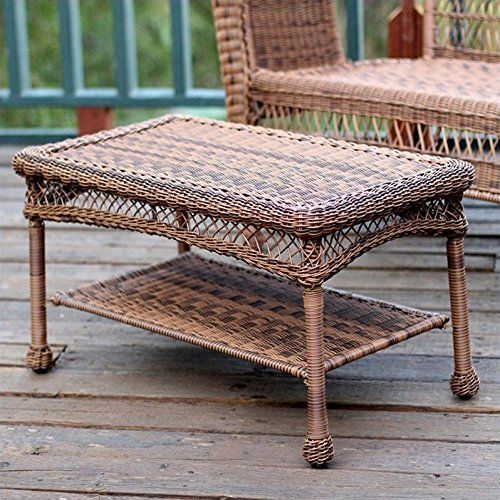 Best Jeco Wicker Patio Furniture Coffee Table In Honey Wicker 640 x 480