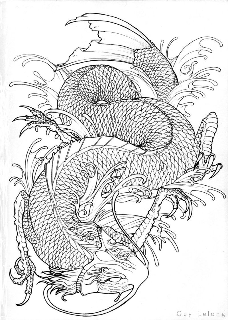 Line Drawing Dragon Tattoo : Fantasy koi dragon line art by guylel on