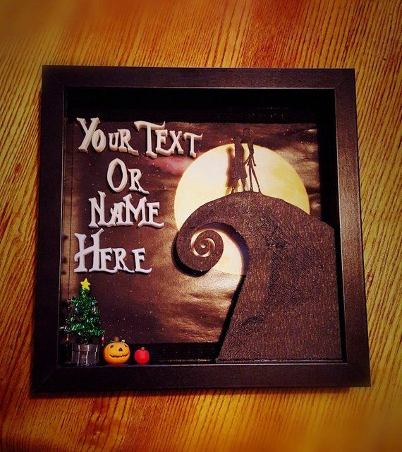 Customized Name Nightmare Before Christmas Inspired Shadow Box Memory Box 3D Printed Names ...