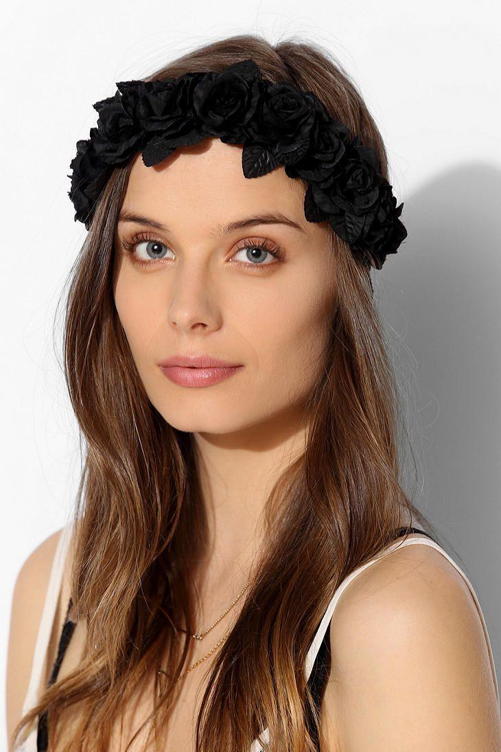 Black flower crown headwrap ravenaked headpieces pinterest black flower crown headwrap ravenaked izmirmasajfo