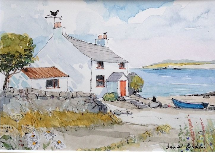Fisherman 39 s cottage by annabel burton art illustration for Watercolor cottages