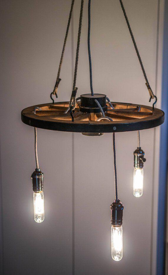 Jahrgang industrielle Wagen Rad leichte Decke Lampe