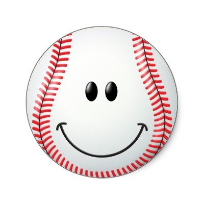 baseball face classic round sticker sharing my emotions