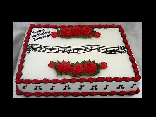 Sheet Cake With Music Notes Amp Red Flowers Sheet Cakes