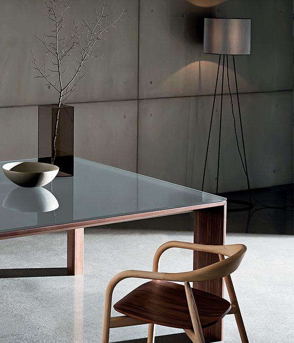 TORONTO Tavolo in vetro e legno di design SOVET
