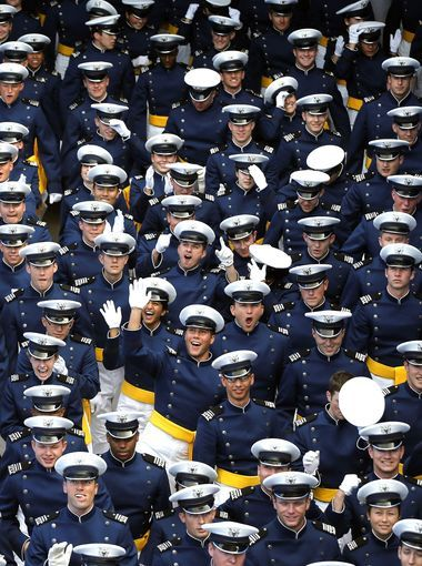 Graduating Air Force Academy cadets assemble for their ceremony at the U.S. Air Force Academy, in Colorado Springs, Colo., on Thursday.