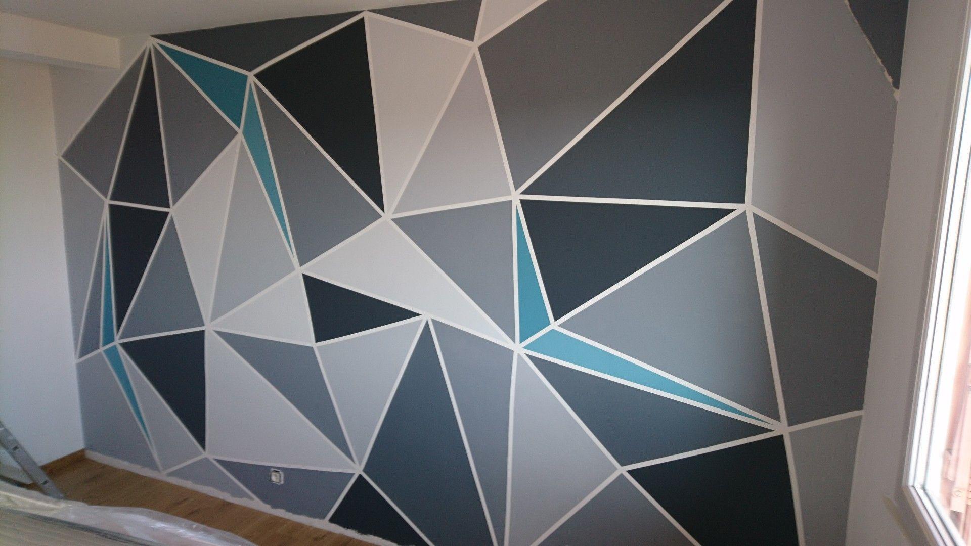 Peinture triangle mur chambre deco  Peinture murale, Parement