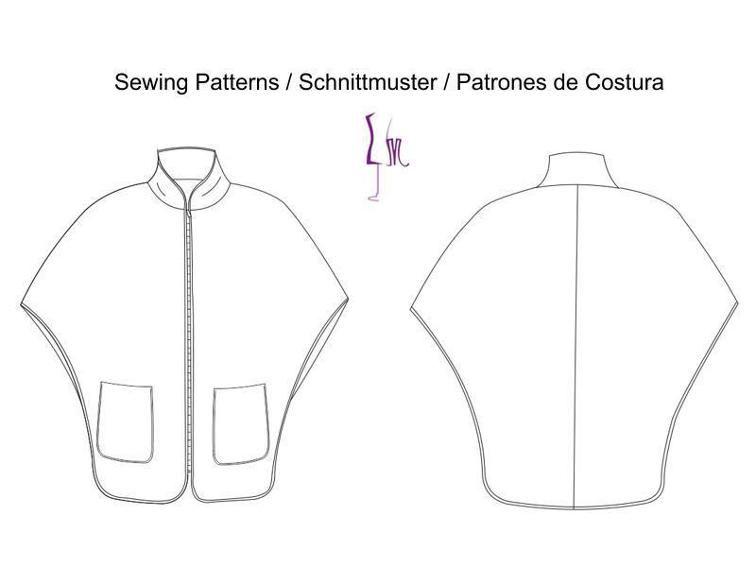 Cape coat, Pdf Sewing Pattern for Women | modelli cucito | Pinterest ...