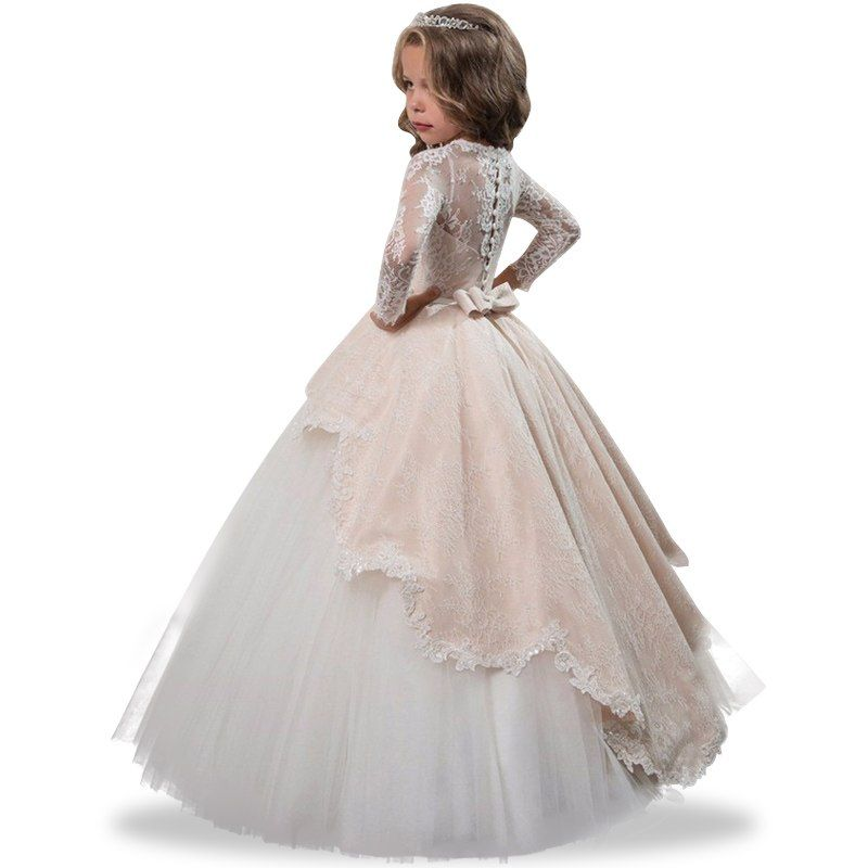 fc898a3cba808 Girl Children Wedding Dress White First Holy Communion Formal Long ...