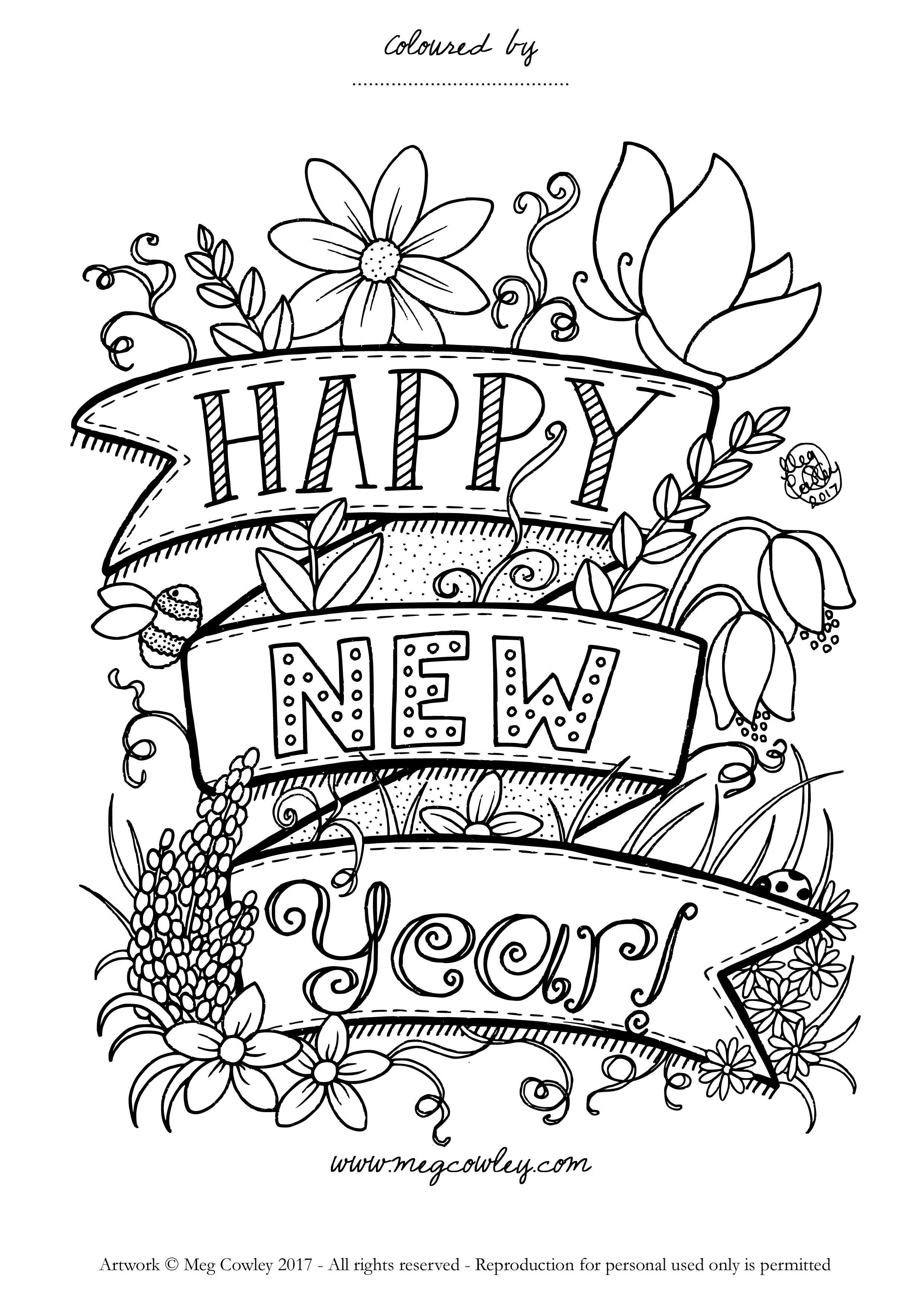 Happy New Year! Enjoy this exclusive coloring page from Meg Cowley ...