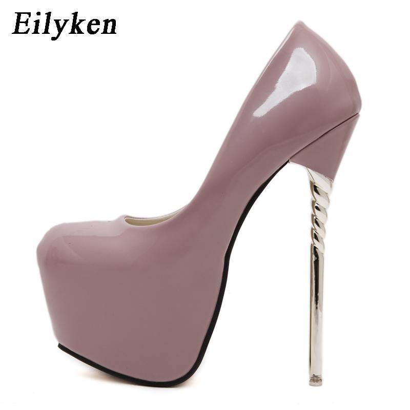 Eilyken 2018 New Sexy Women Pumps Wedding Women Fashion Patent Leather Shoes  Latform Very High Heel shoes For Women c0820b3a56e4