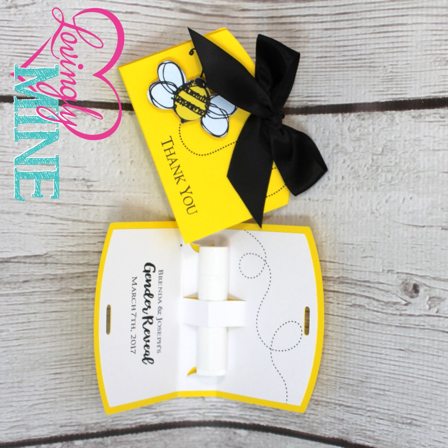 Lip Balm Holder Favor Bags in Bumble Bee Yellow, Black & White - Set ...