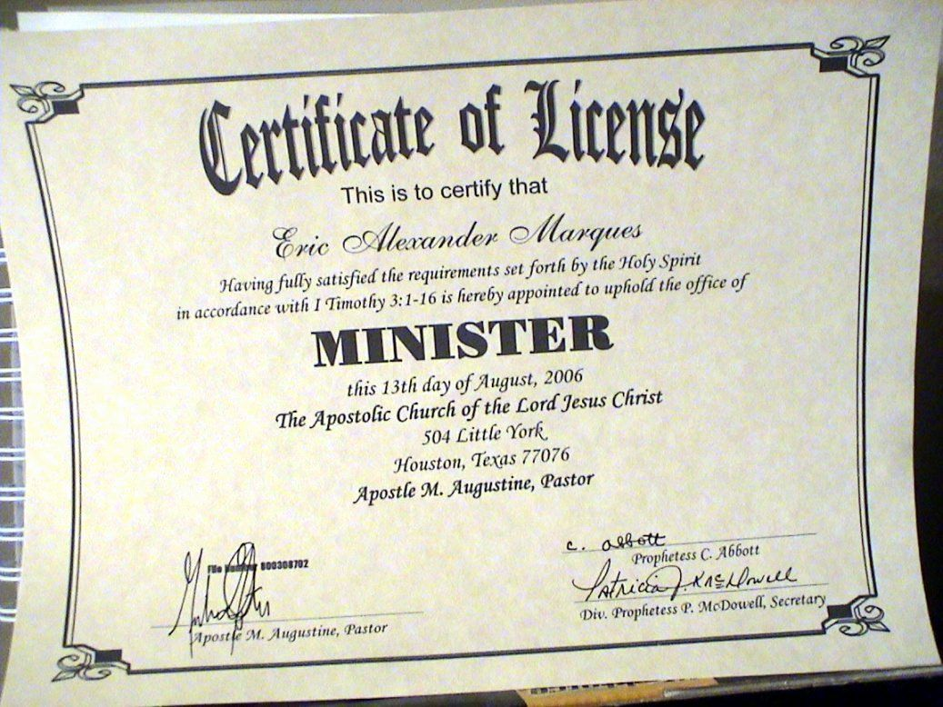 Certificate Of License For Minister Template Beautiful Certificate Ministry License Template Certificate Templates Business Plan Template Business Template Certificate of license for minister template