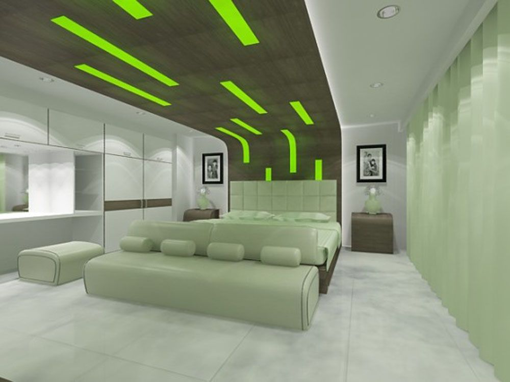 Green accent ceiling idea in futuristic interior design feat comfortable bedroom bench with tufted headboard