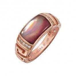 Kabana - Pink Mother of Pearl  Diamond Mykonos Ring in 14k Rose Gold (.10 ctw)