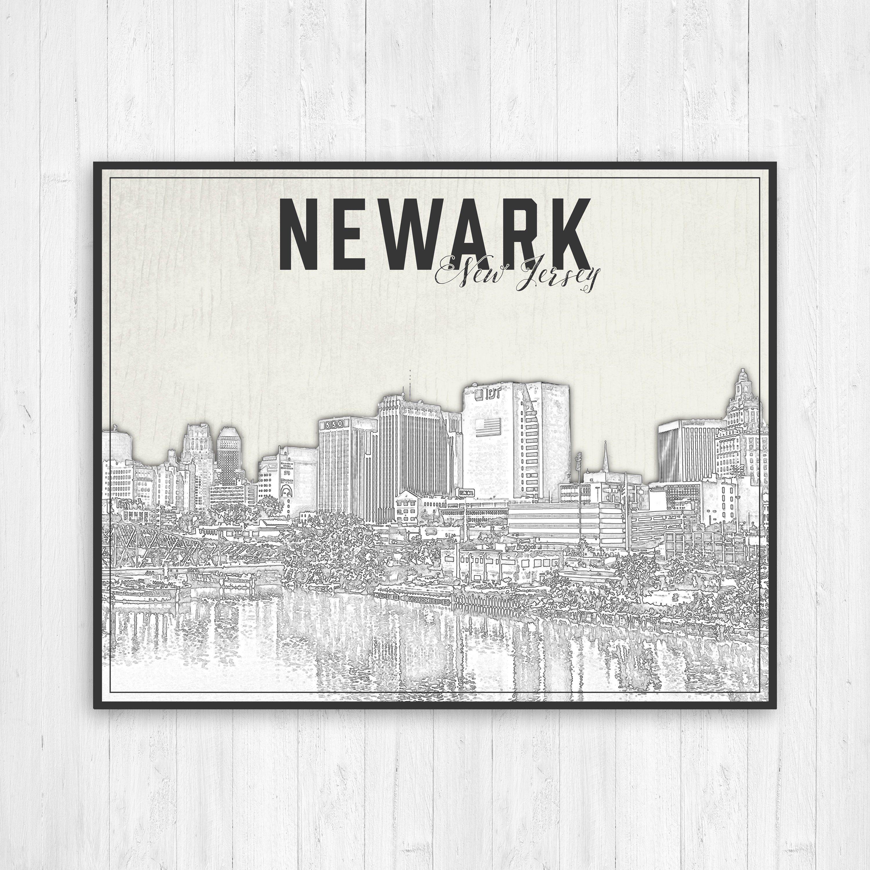 Newark New Jersey Illustration City Print Newark Nj Print Black