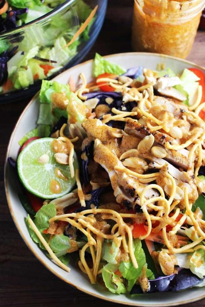 asian chicken salad with sriracha peanut dressing  recipe