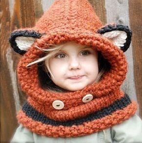 Cute crocheted fox hat
