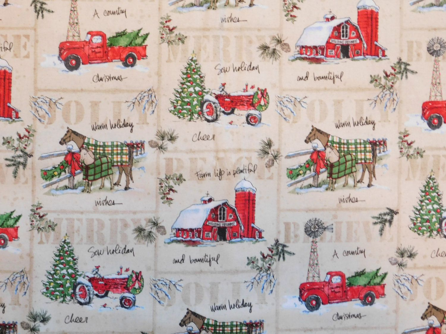 Christmas Fabric Country Scene Fabric By The Yard A Country