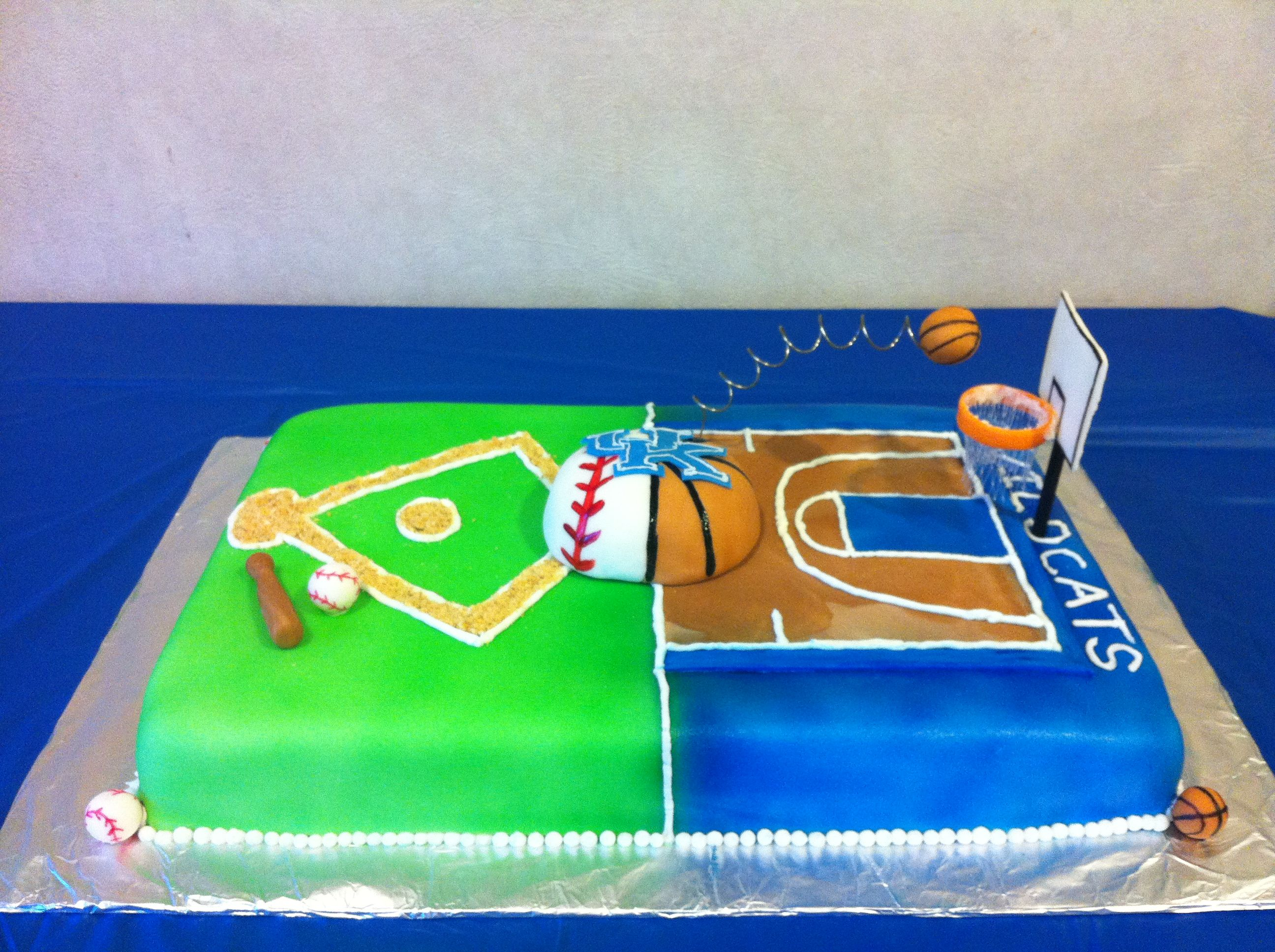 Fabulous Combo Uk Baseball And Basketball Cake For My Nephew With Images Personalised Birthday Cards Paralily Jamesorg