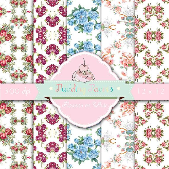 Flowers on White - Digital Collage Sheet, Digital Paper, Floral Paper, Decoupage Paper, Scrapbook Paper, Roses, Shabby Chic, Printables