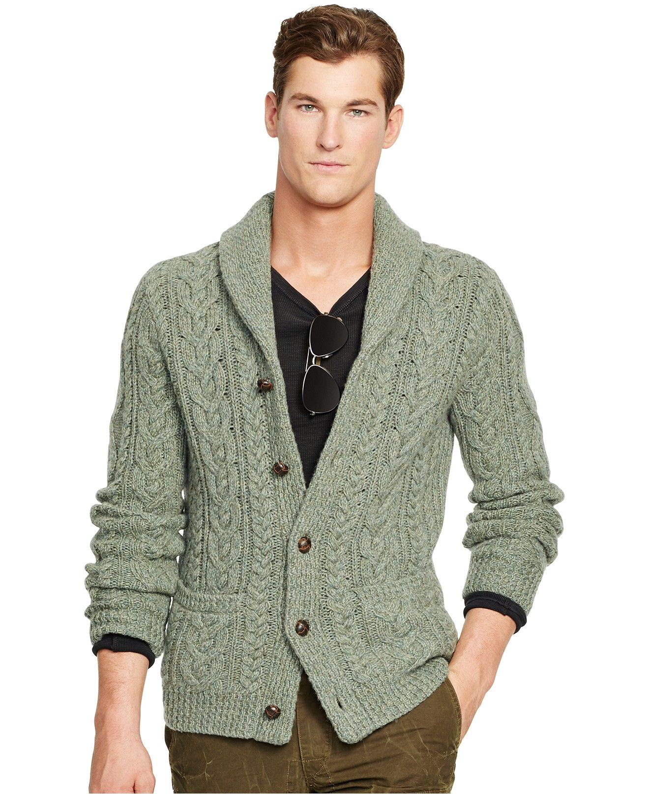 Polo Ralph Lauren Wool Cable-Knit Cardigan - Sweaters - Men - Macy\u0027s