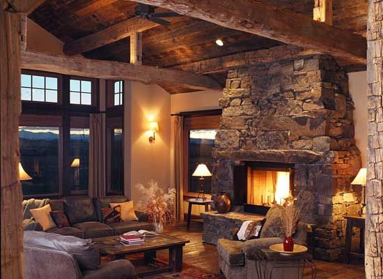 Reclaimed wood and native rock in this fabulous Montana log ... on rock churches, rock lake homes, rock lake cabins, rock and log house,