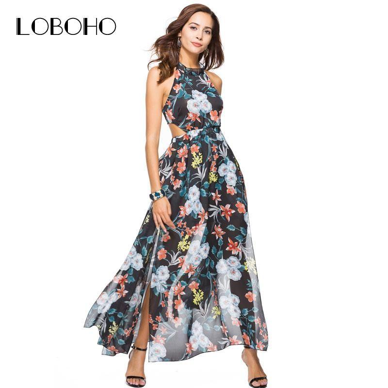 b1daedfa7f0 Maxi Dresses for Summer 2019 Chiffon Maxi Dress Summer 2018 Fashion Holiday Sexy  Women Dress With