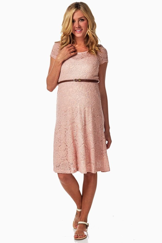 b48177188f Pink-Lace-Belted-Dress Baby Shower Dresses