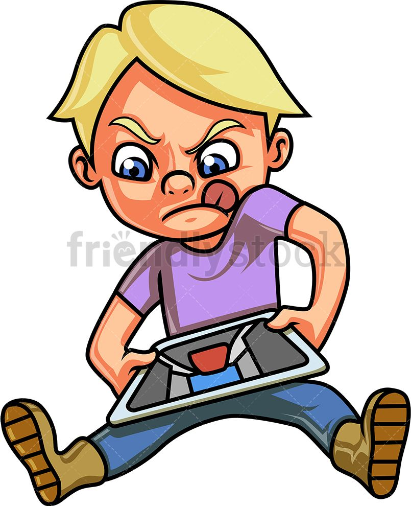 Boy Playing Video Game On Tablet Cartoon Clipart Vector ...