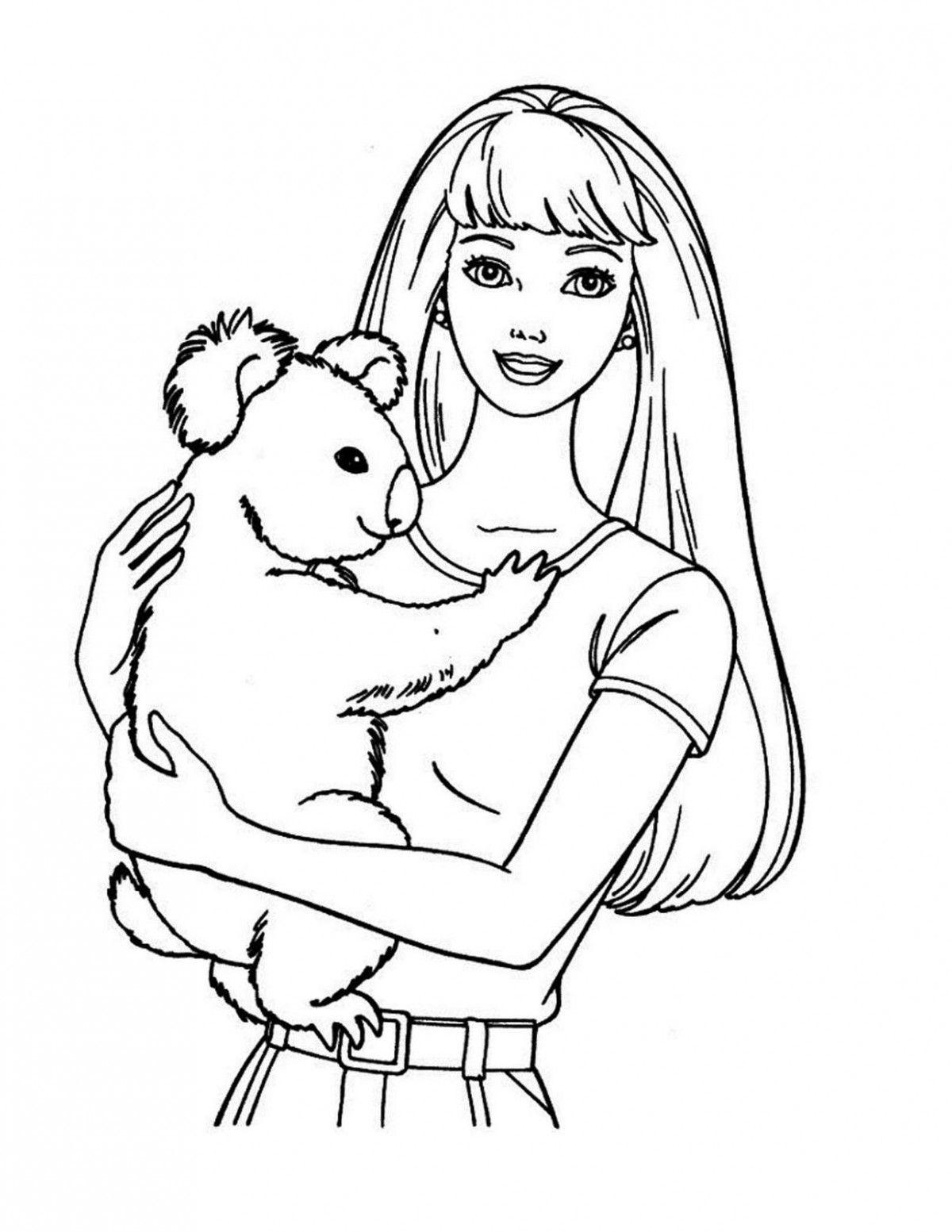 Barbie Holding A Koala Disney Princess Coloring Pages Princess Coloring Pages Unicorn Coloring Pages