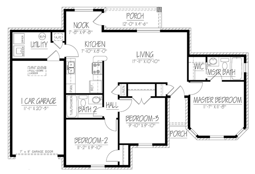 Ranch Style House Plan 3 Beds 2 Baths 1103 Sq/Ft Plan