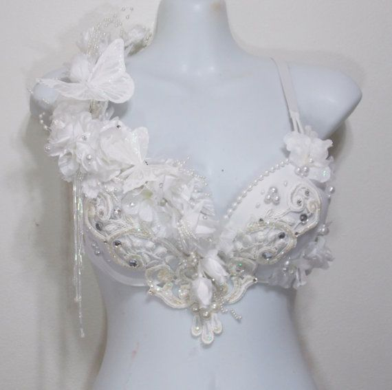 winter fairy white wonderland rave bra applique rhinestones butterflies on etsy. Black Bedroom Furniture Sets. Home Design Ideas