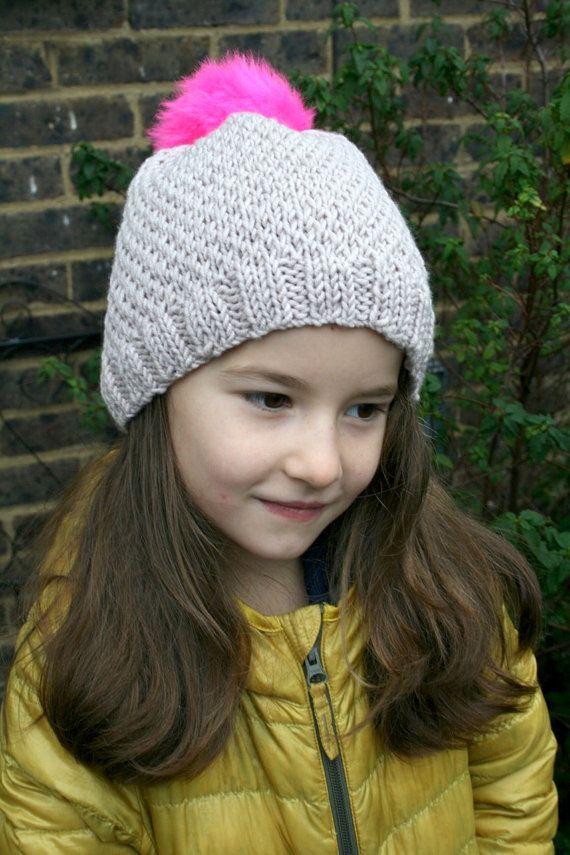 KNITTING PATTERN, Pink pom pom slouchy hat knitting pattern 10 ...