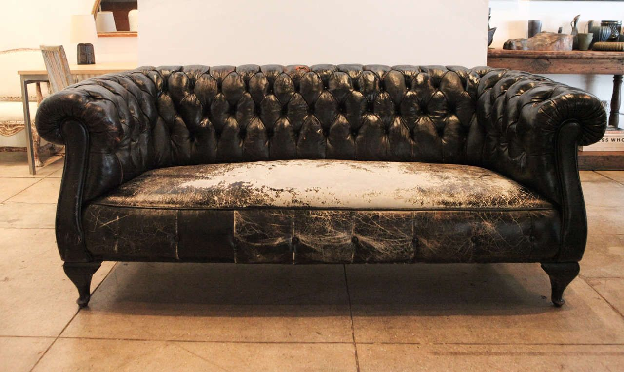 Swedish Black Leather Chesterfield Sofa, Circa 1930 At 1stdibs