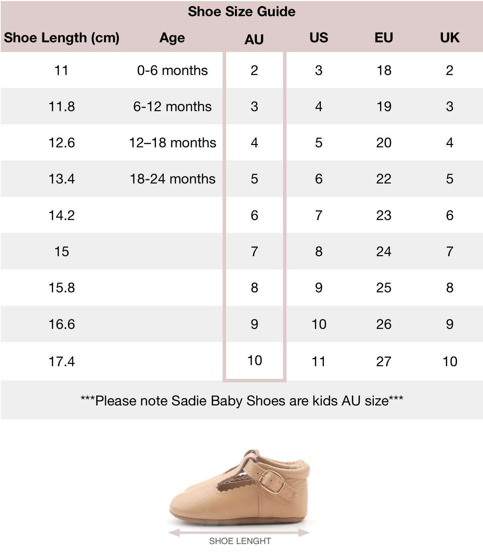 Shoe Size Guide | Sadie Baby | Shoe