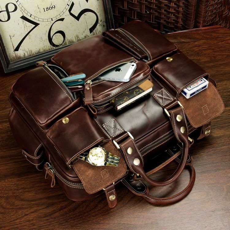 Leather Briefcase Travel Bag