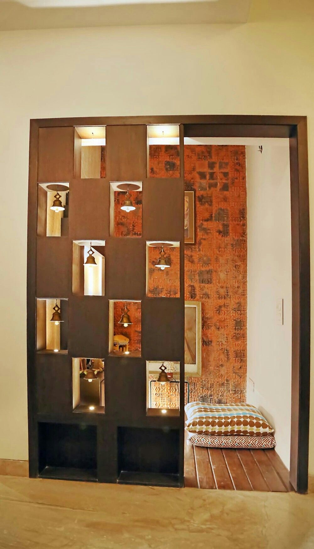 Pooja room the inside pooja rooms room false ceiling living room for Living room partition designs in indian