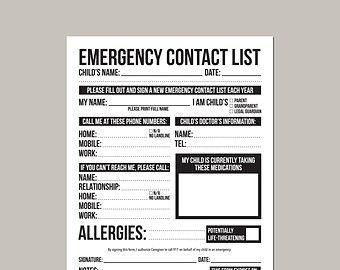 babysitter contact information sheet