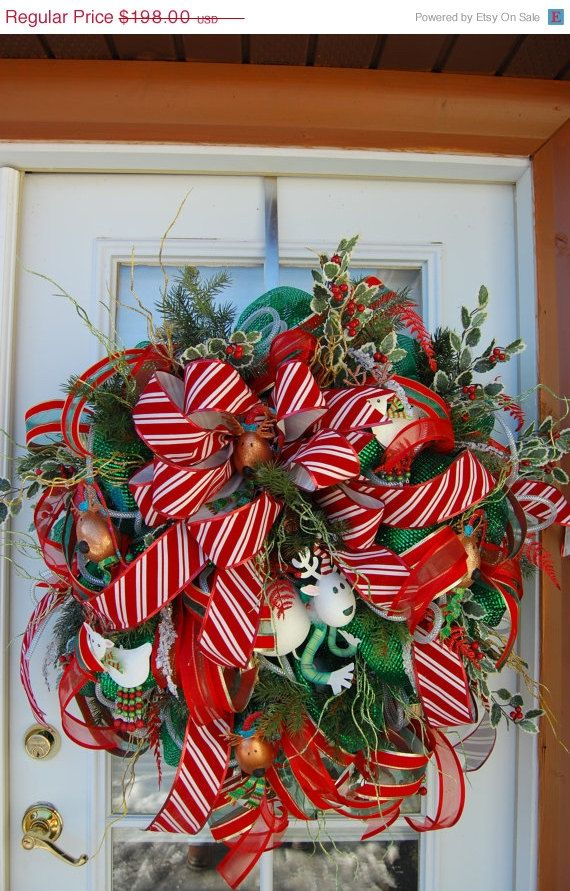 Christmas+Wreath+Raindeer+Deco+Mesh+Clearance+by+HangingTouches,+$