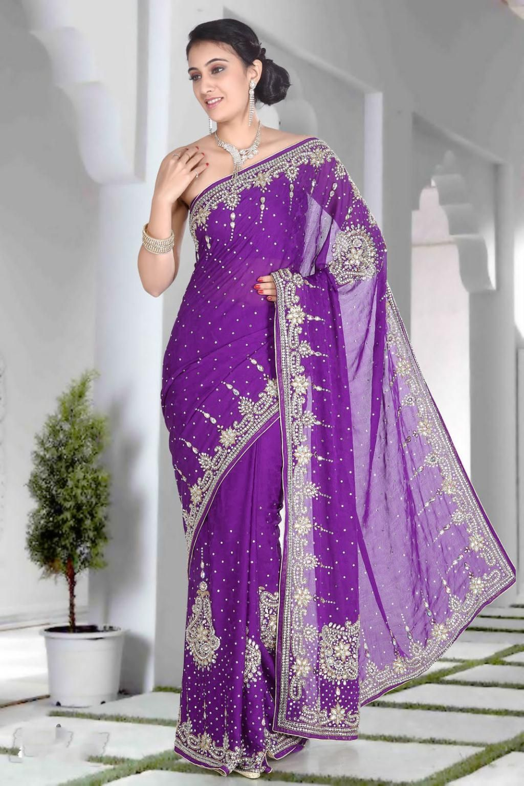 $221.79 Purple Jacquard Stone and Crystal Work Saree 22919 ...