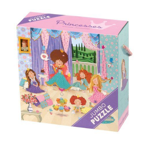 "Princesses Jumbo Puzzle by Mudpuppy. $15.00. Puzzle measures 22"" square (56 cm). Puzzle greyboard contains 90% recycled paper. 25 jumbo pieces. Printed with nontoxic, soy-based inks. Sturdy 9"" x 9"" x 3-1/2"" box with a colorful rope handle. From the Manufacturer                Laura Arias illustrated these five princesses having tea and cupcakes for our Princesses Jumbo Puzzle from Mudpuppy. She included some animal friends. Can you find the turtle?               ..."