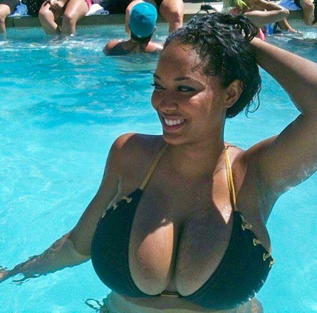 Busty ebony pool