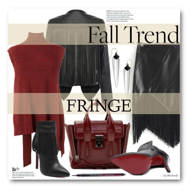 """Fall Trend: Fringe"" by beebeely-look ❤ liked on Polyvore featuring 3.1 Phillip Lim, Alexis Bittar, Kevyn Aucoin, StreetStyle, fringe, sleevelesssweater and shein"